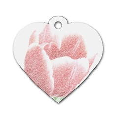 Tulip Red Pencil Drawing Art Dog Tag Heart (two Sides)
