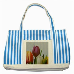 Tulips Striped Blue Tote Bag