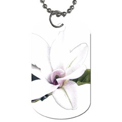 White Magnolia pencil drawing art Dog Tag (Two Sides)