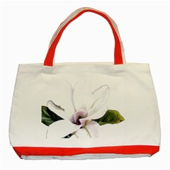 White Magnolia pencil drawing art Classic Tote Bag (Red)
