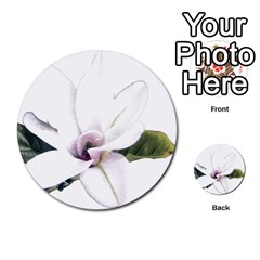 White Magnolia Pencil Drawing Art Multi Purpose Cards (round)