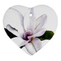 Magnolia Wit Aquarel Painting Art Ornament (heart)