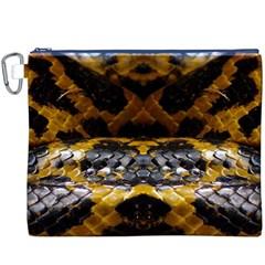 Textures Snake Skin Patterns Canvas Cosmetic Bag (XXXL)
