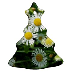 White Summer Flowers Watercolor Painting Art Christmas Tree Ornament (2 Sides)