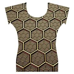 Texture Hexagon Pattern Women s Cap Sleeve Top