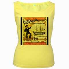 Vintage Advertisement British Navy Marine Typography Women s Yellow Tank Top