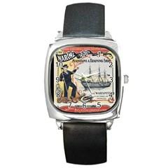 Vintage Advertisement British Navy Marine Typography Square Metal Watch