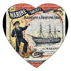 Vintage Advertisement British Navy Marine Typography Jigsaw Puzzle (Heart)
