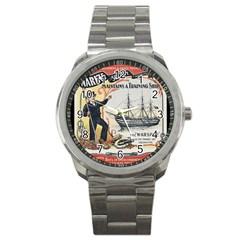 Vintage Advertisement British Navy Marine Typography Sport Metal Watch