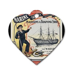 Vintage Advertisement British Navy Marine Typography Dog Tag Heart (Two Sides)