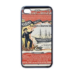 Vintage Advertisement British Navy Marine Typography Apple iPhone 4 Case (Black)