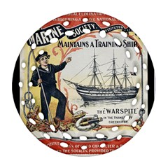 Vintage Advertisement British Navy Marine Typography Ornament (Round Filigree)