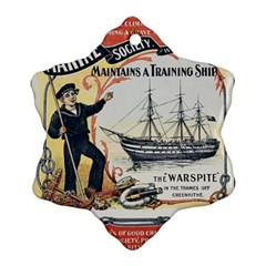 Vintage Advertisement British Navy Marine Typography Ornament (Snowflake)