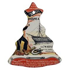 Vintage Advertisement British Navy Marine Typography Christmas Tree Ornament (2 Sides)