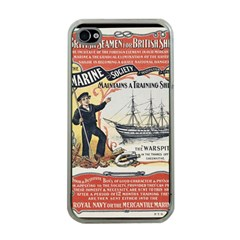 Vintage Advertisement British Navy Marine Typography Apple iPhone 4 Case (Clear)