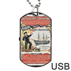 Vintage Advertisement British Navy Marine Typography Dog Tag USB Flash (Two Sides)