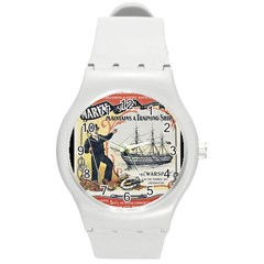 Vintage Advertisement British Navy Marine Typography Round Plastic Sport Watch (M)