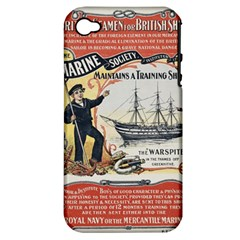 Vintage Advertisement British Navy Marine Typography Apple iPhone 4/4S Hardshell Case (PC+Silicone)