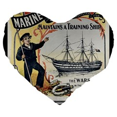 Vintage Advertisement British Navy Marine Typography Large 19  Premium Heart Shape Cushions