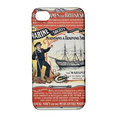 Vintage Advertisement British Navy Marine Typography Apple iPhone 4/4S Hardshell Case with Stand