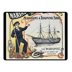 Vintage Advertisement British Navy Marine Typography Double Sided Fleece Blanket (Small)