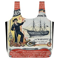 Vintage Advertisement British Navy Marine Typography Full Print Recycle Bags (L)
