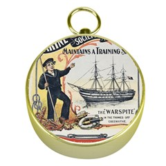 Vintage Advertisement British Navy Marine Typography Gold Compasses