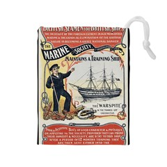 Vintage Advertisement British Navy Marine Typography Drawstring Pouches (Large)