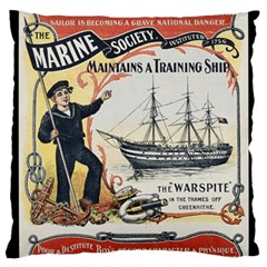 Vintage Advertisement British Navy Marine Typography Large Flano Cushion Case (Two Sides)