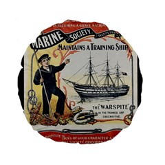 Vintage Advertisement British Navy Marine Typography Standard 15  Premium Flano Round Cushions