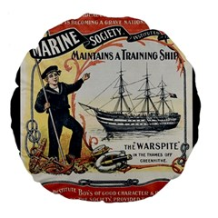 Vintage Advertisement British Navy Marine Typography Large 18  Premium Flano Round Cushions