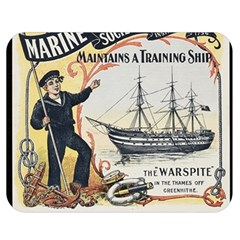 Vintage Advertisement British Navy Marine Typography Double Sided Flano Blanket (Medium)