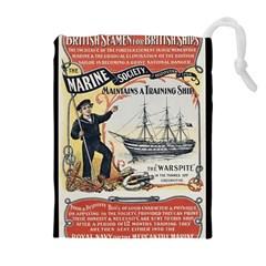 Vintage Advertisement British Navy Marine Typography Drawstring Pouches (Extra Large)