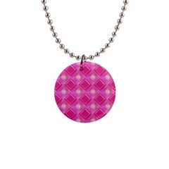 Pink Sweet Number 16 Diamonds Geometric Pattern Button Necklaces