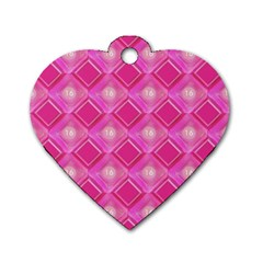 Pink Sweet Number 16 Diamonds Geometric Pattern Dog Tag Heart (Two Sides)