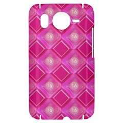 Pink Sweet Number 16 Diamonds Geometric Pattern HTC Desire HD Hardshell Case