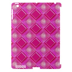 Pink Sweet Number 16 Diamonds Geometric Pattern Apple iPad 3/4 Hardshell Case (Compatible with Smart Cover)