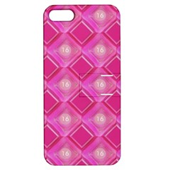 Pink Sweet Number 16 Diamonds Geometric Pattern Apple iPhone 5 Hardshell Case with Stand