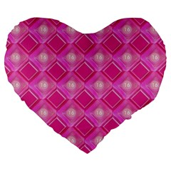 Pink Sweet Number 16 Diamonds Geometric Pattern Large 19  Premium Flano Heart Shape Cushions