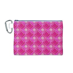 Pink Sweet Number 16 Diamonds Geometric Pattern Canvas Cosmetic Bag (M)
