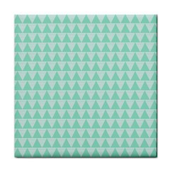 Mint Color Triangle Pattern Tile Coasters