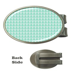 Mint Color Triangle Pattern Money Clips (oval)