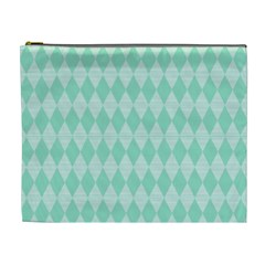 Mint Color Diamond Shape Pattern Cosmetic Bag (xl)