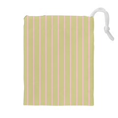 Summer Sand Color Pink Stripes Drawstring Pouches (extra Large)