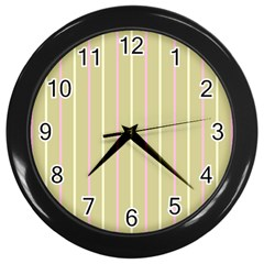 Summer Sand Color Pink And Yellow Stripes Wall Clock (black)