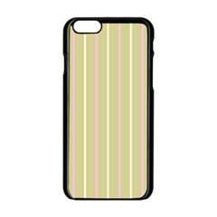 Summer Sand Color Pink And Yellow Stripes Apple Iphone 6/6s Black Enamel Case