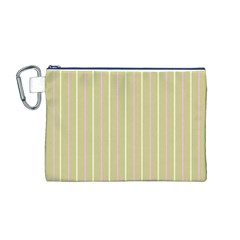 Summer sand color pink and yellow stripes Canvas Cosmetic Bag (Medium)