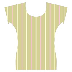 Summer sand color pink and yellow stripes Women s Cap Sleeve Top