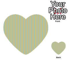 Summer Sand Color Blue Stripes Pattern Multi Purpose Cards (heart)