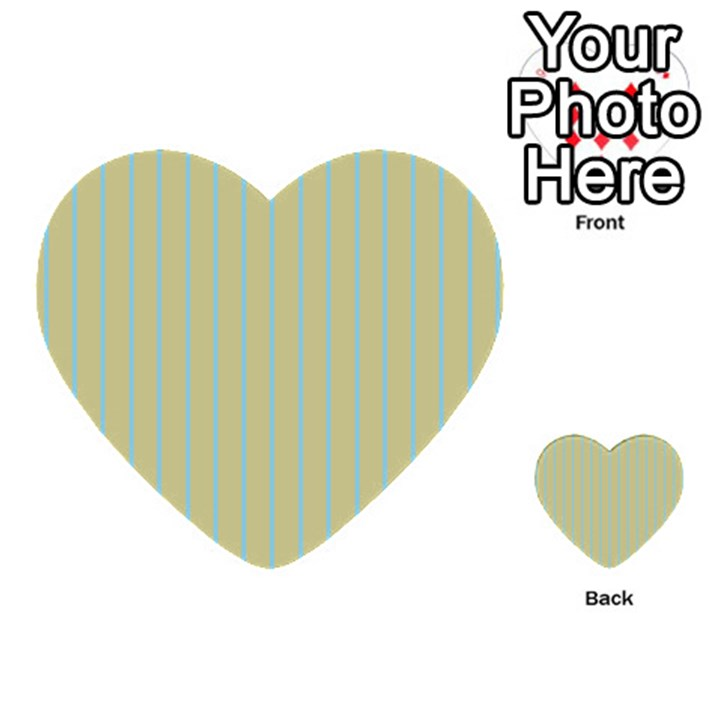 Summer sand color blue stripes pattern Multi-purpose Cards (Heart)